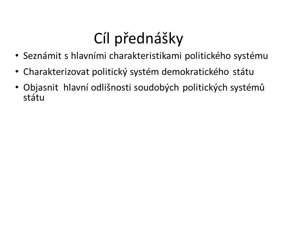 Cíl přednášky Seznámit s hlavními charakteristikami politického systému Charakterizovat politický systém demokratického státu Objasnit hlavní odlišnos