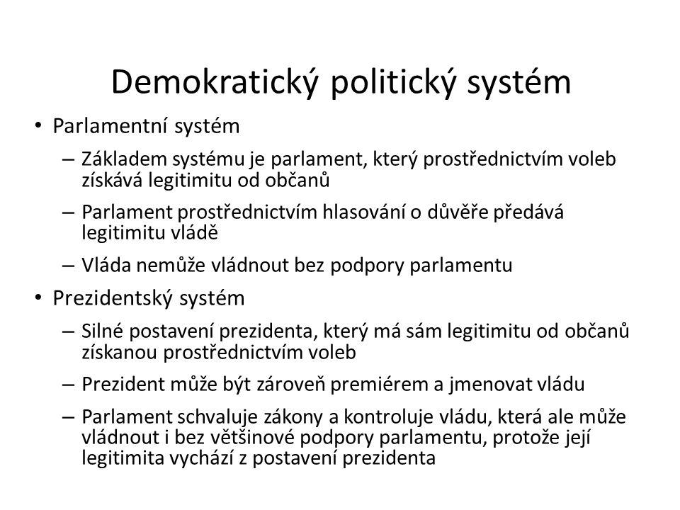 Demokratický politický systém Parlamentní systém – Základem systému je parlament, který prostřednictvím voleb získává legitimitu od občanů – Parlament prostřednictvím hlasování o důvěře předává legitimitu vládě – Vláda nemůže vládnout bez podpory parlamentu Prezidentský systém – Silné postavení prezidenta, který má sám legitimitu od občanů získanou prostřednictvím voleb – Prezident může být zároveň premiérem a jmenovat vládu – Parlament schvaluje zákony a kontroluje vládu, která ale může vládnout i bez většinové podpory parlamentu, protože její legitimita vychází z postavení prezidenta