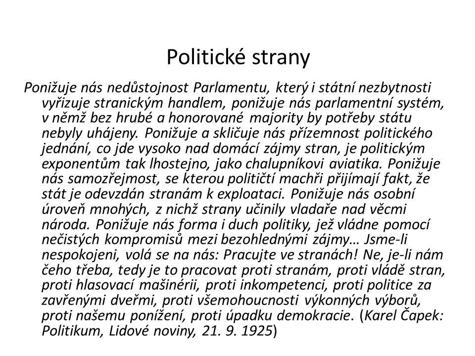 Politické strany Ponižuje nás nedůstojnost Parlamentu, který i státní nezbytnosti vyřizuje stranickým handlem, ponižuje nás parlamentní systém, v němž bez hrubé a honorované majority by potřeby státu nebyly uhájeny.