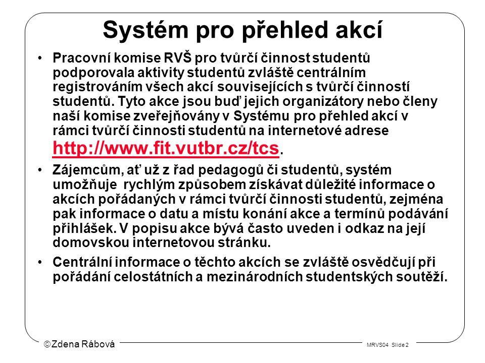  Zdena Rábová MRVS04 Slide 2 Systém pro přehled akcí Pracovní komise RVŠ pro tvůrčí činnost studentů podporovala aktivity studentů zvláště centrálním registrováním všech akcí souvisejících s tvůrčí činností studentů.