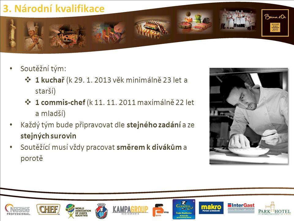 Soutěžní tým:  1 kuchař (k 29. 1. 2013 věk minimálně 23 let a starší)  1 commis-chef (k 11. 11. 2011 maximálně 22 let a mladší) Každý tým bude připr