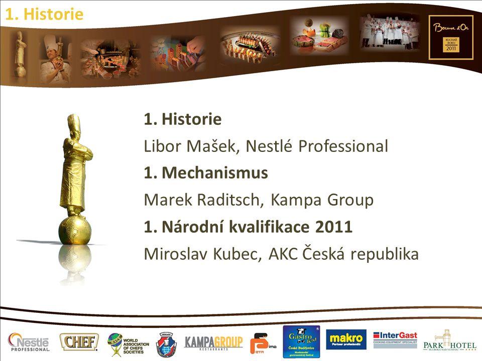 1.Historie Libor Mašek, Nestlé Professional 1.Mechanismus Marek Raditsch, Kampa Group 1.Národní kvalifikace 2011 Miroslav Kubec, AKC Česká republika 1