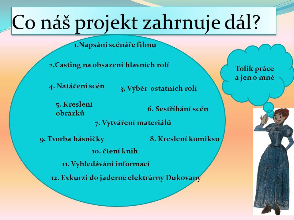 Co náš projekt zahrnuje dál.2.Casting na obsazení hlavních rolí 3.