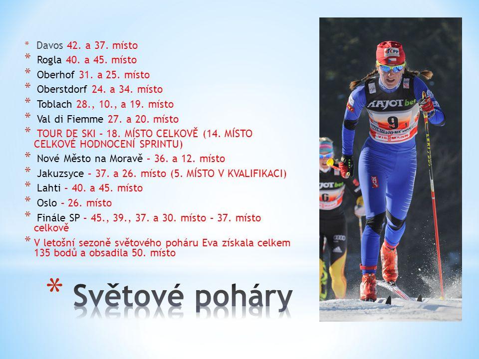 * Davos 42. a 37. místo * Rogla 40. a 45. místo * Oberhof 31.