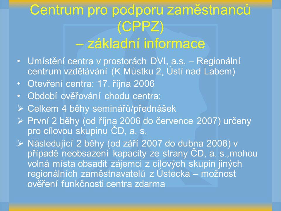 Centrum pro podporu zaměstnanců (CPPZ) – základní informace Umístění centra v prostorách DVI, a.s. – Regionální centrum vzdělávání (K Můstku 2, Ústí n