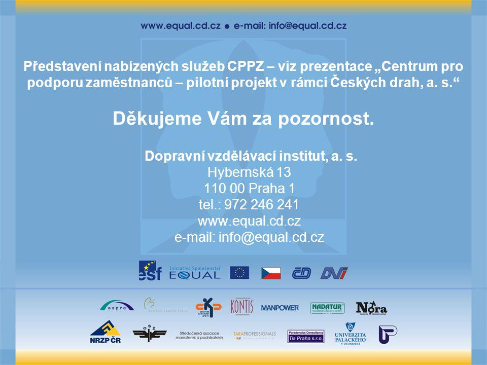 """Představení nabízených služeb CPPZ – viz prezentace """"Centrum pro podporu zaměstnanců – pilotní projekt v rámci Českých drah, a."""