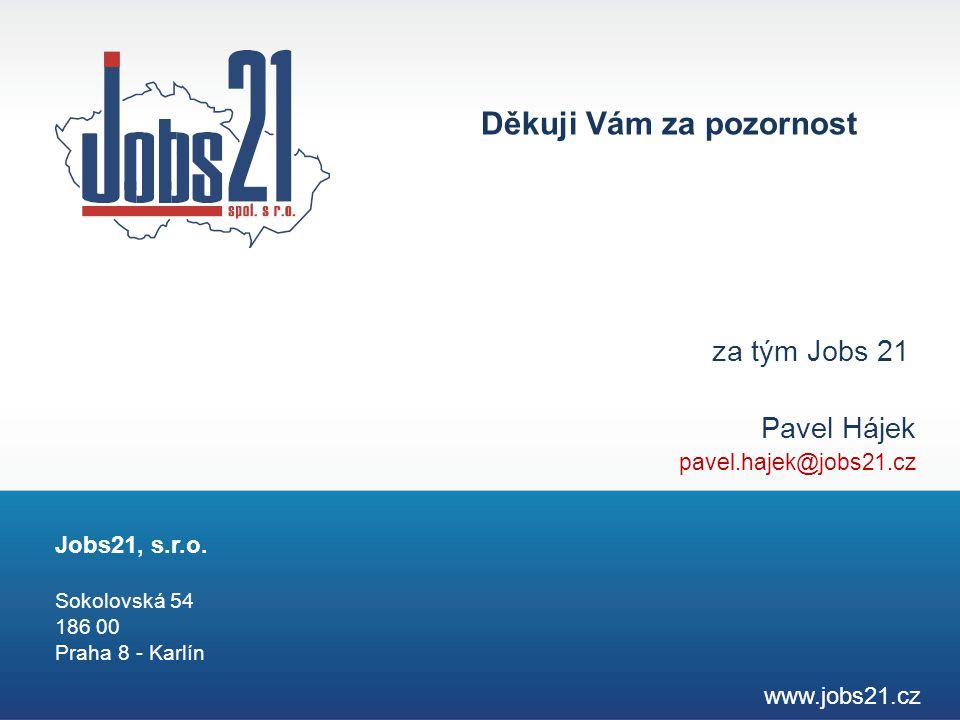 za tým Jobs 21 Pavel Hájek pavel.hajek@jobs21.cz www.jobs21.cz Jobs21, s.r.o. Sokolovská 54 186 00 Praha 8 - Karlín Děkuji Vám za pozornost