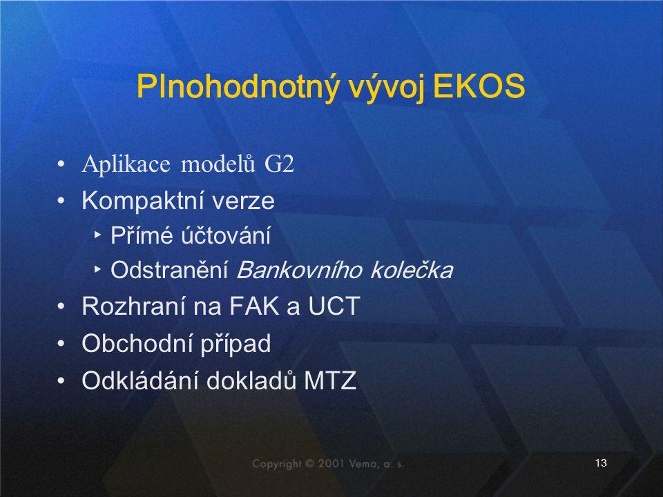 13 Plnohodnotný vývoj EKOS Aplikace modelů G2 Kompaktní verze ▸Přímé účtování ▸Odstranění Bankovního kolečka Rozhraní na FAK a UCT Obchodní případ Odk