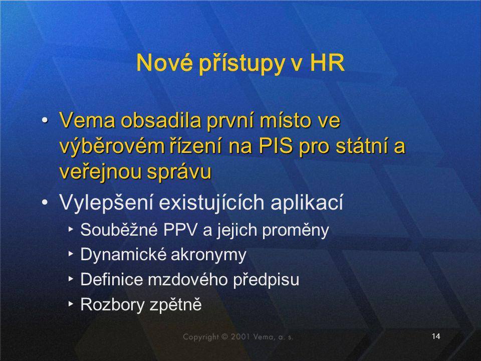 14 Nové přístupy v HR Vema obsadila první místo ve výběrovém řízení na PIS pro státní a veřejnou správuVema obsadila první místo ve výběrovém řízení n