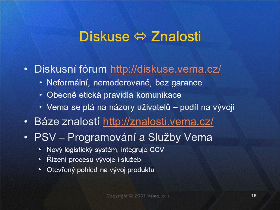 16 Diskuse  Znalosti Diskusní fórum http://diskuse.vema.cz/http://diskuse.vema.cz/ ▸Neformální, nemoderované, bez garance ▸Obecně etická pravidla kom