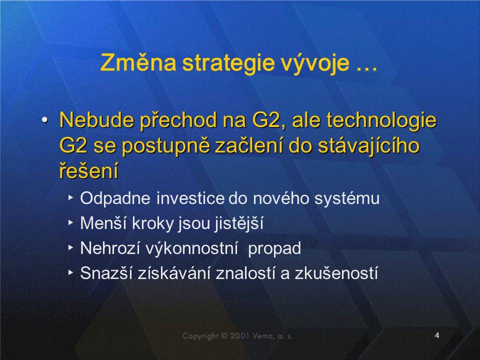 4 Změna strategie vývoje … Nebude přechod na G2, ale technologie G2 se postupně začlení do stávajícího řešeníNebude přechod na G2, ale technologie G2