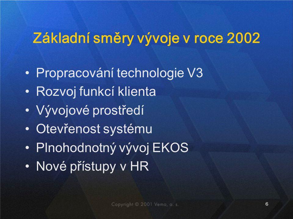 6 Základní směry vývoje v roce 2002 Propracování technologie V3 Rozvoj funkcí klienta Vývojové prostředí Otevřenost systému Plnohodnotný vývoj EKOS No