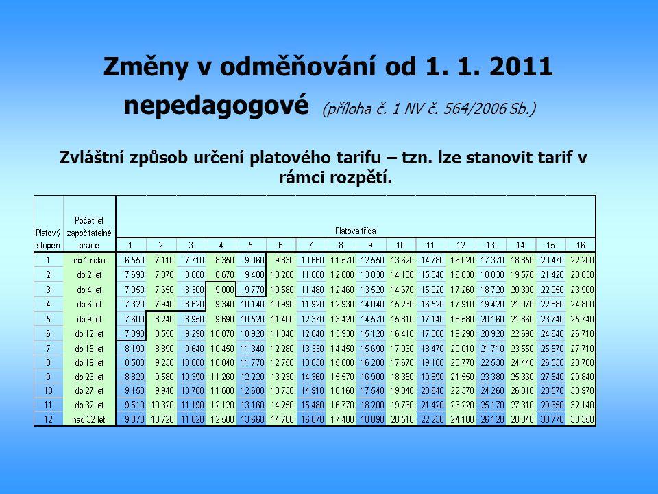 Změny v odměňování od 1. 1. 2011 nepedagogové (příloha č. 1 NV č. 564/2006 Sb.) Zvláštní způsob určení platového tarifu – tzn. lze stanovit tarif v rá