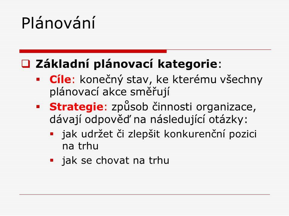 Plánování  Základní plánovací kategorie:  Cíle: konečný stav, ke kterému všechny plánovací akce směřují  Strategie: způsob činnosti organizace, dávají odpověď na následující otázky:  jak udržet či zlepšit konkurenční pozici na trhu  jak se chovat na trhu