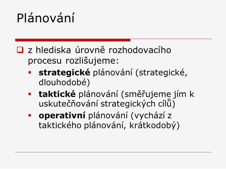Plánování  z hlediska úrovně rozhodovacího procesu rozlišujeme:  strategické plánování (strategické, dlouhodobé)  taktické plánování (směřujeme jím k uskutečňování strategických cílů)  operativní plánování (vychází z taktického plánování, krátkodobý)