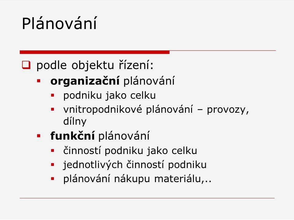 Plánování  podle objektu řízení:  organizační plánování  podniku jako celku  vnitropodnikové plánování – provozy, dílny  funkční plánování  činn