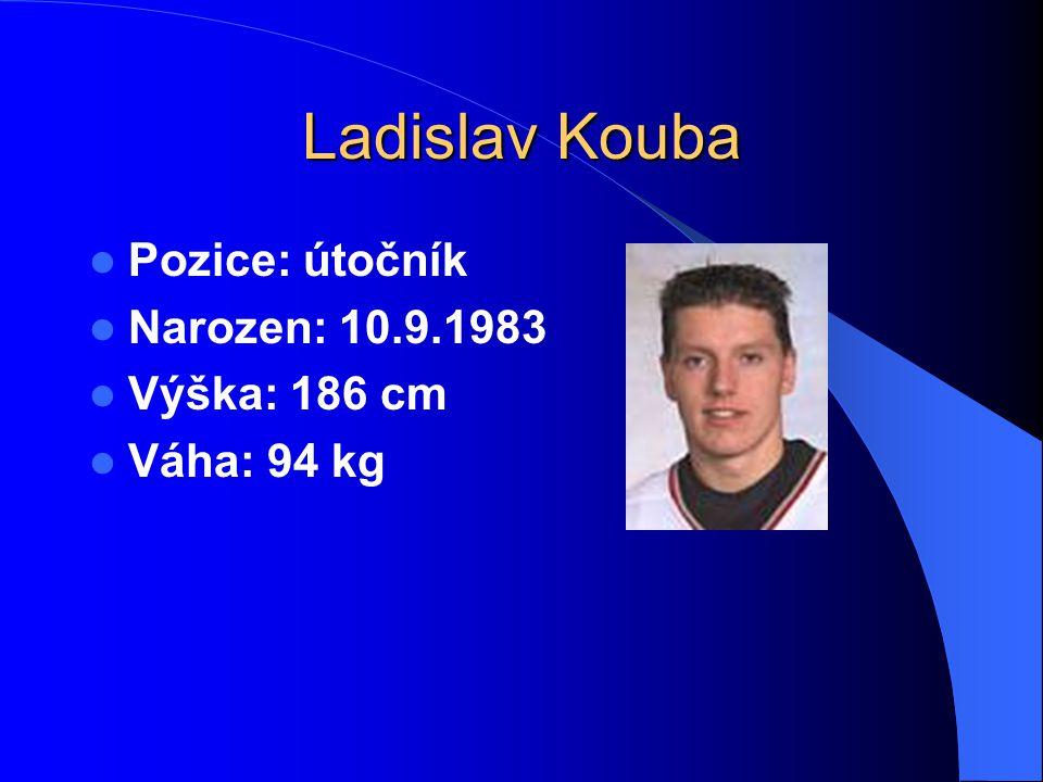 Ladislav Kouba Pozice: útočník Narozen: 10.9.1983 Výška: 186 cm Váha: 94 kg