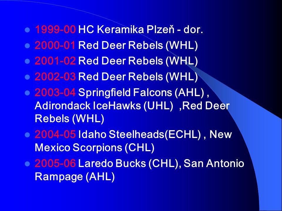 1999-00 HC Keramika Plzeň - dor. 2000-01 Red Deer Rebels (WHL) 2001-02 Red Deer Rebels (WHL) 2002-03 Red Deer Rebels (WHL) 2003-04 Springfield Falcons