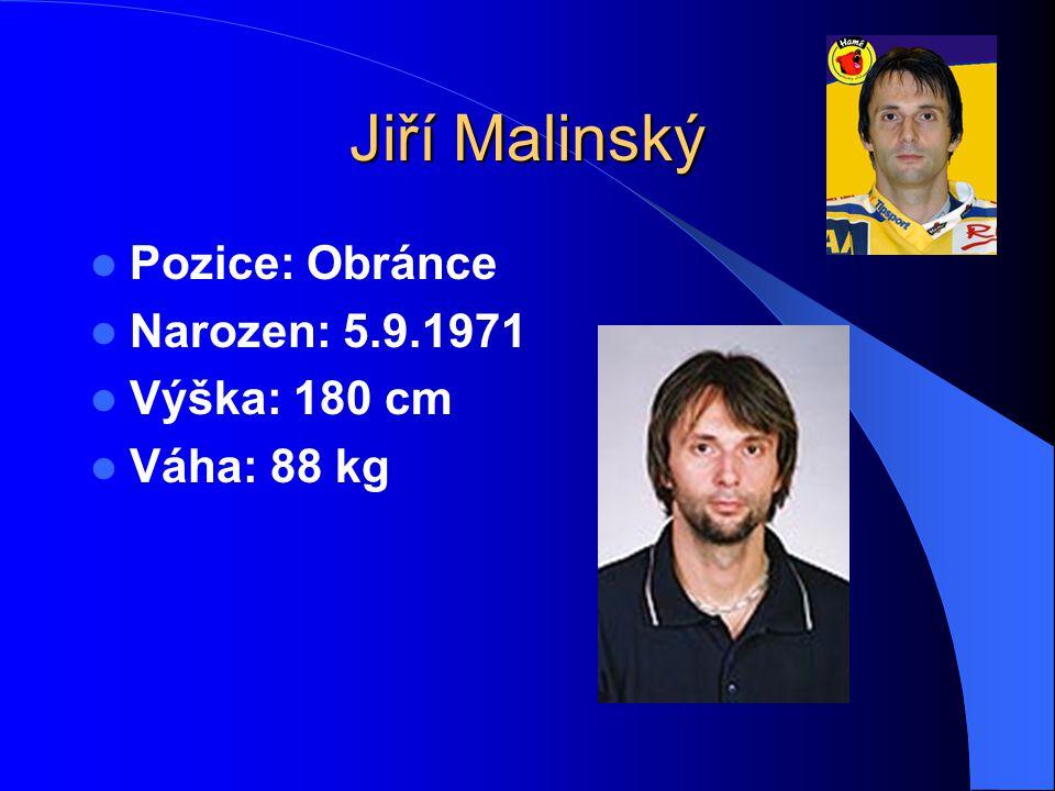 Jiří Malinský Pozice: Obránce Narozen: 5.9.1971 Výška: 180 cm Váha: 88 kg