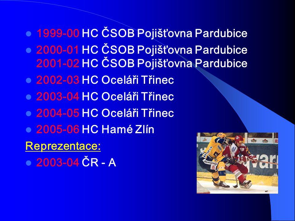 1999-00 HC ČSOB Pojišťovna Pardubice 2000-01 HC ČSOB Pojišťovna Pardubice 2001-02 HC ČSOB Pojišťovna Pardubice 2002-03 HC Oceláři Třinec 2003-04 HC Oceláři Třinec 2004-05 HC Oceláři Třinec 2005-06 HC Hamé Zlín Reprezentace: 2003-04 ČR - A