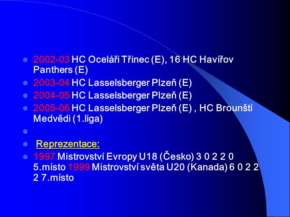 2002-03 HC Oceláři Třinec (E), 16 HC Havířov Panthers (E) 2003-04 HC Lasselsberger Plzeň (E) 2004-05 HC Lasselsberger Plzeň (E) 2005-06 HC Lasselsberger Plzeň (E), HC Brounští Medvědi (1.liga) Reprezentace: 1997 Mistrovství Evropy U18 (Česko) 3 0 2 2 0 5.místo 1999 Mistrovství světa U20 (Kanada) 6 0 2 2 2 7.místo