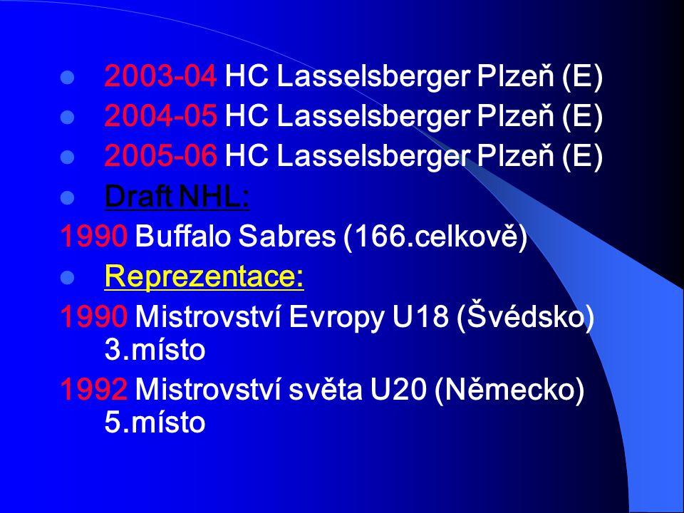 2003-04 HC Lasselsberger Plzeň (E) 2004-05 HC Lasselsberger Plzeň (E) 2005-06 HC Lasselsberger Plzeň (E) Draft NHL: 1990 Buffalo Sabres (166.celkově)