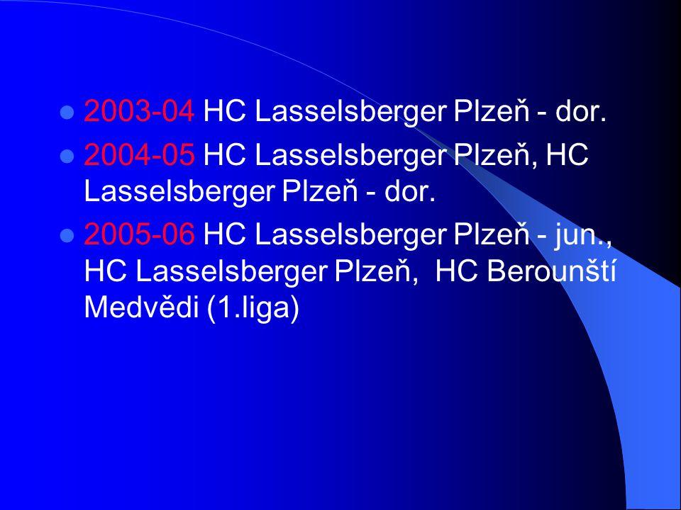 2003-04 HC Lasselsberger Plzeň - dor. 2004-05 HC Lasselsberger Plzeň, HC Lasselsberger Plzeň - dor. 2005-06 HC Lasselsberger Plzeň - jun., HC Lasselsb
