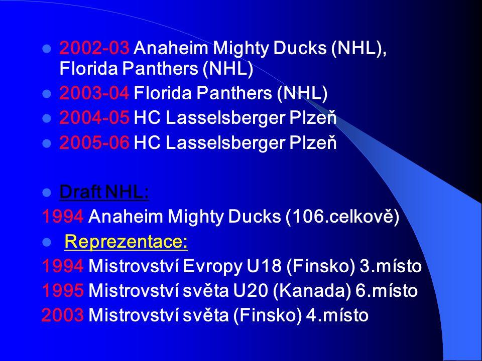 2002-03 Anaheim Mighty Ducks (NHL), Florida Panthers (NHL) 2003-04 Florida Panthers (NHL) 2004-05 HC Lasselsberger Plzeň 2005-06 HC Lasselsberger Plzeň Draft NHL: 1994 Anaheim Mighty Ducks (106.celkově) Reprezentace: 1994 Mistrovství Evropy U18 (Finsko) 3.místo 1995 Mistrovství světa U20 (Kanada) 6.místo 2003 Mistrovství světa (Finsko) 4.místo