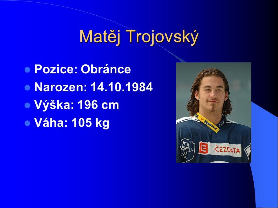 Matěj Trojovský Pozice: Obránce Narozen: 14.10.1984 Výška: 196 cm Váha: 105 kg