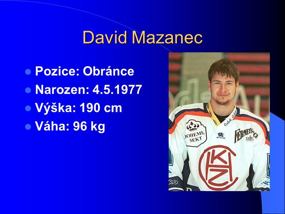 David Mazanec Pozice: Obránce Narozen: 4.5.1977 Výška: 190 cm Váha: 96 kg