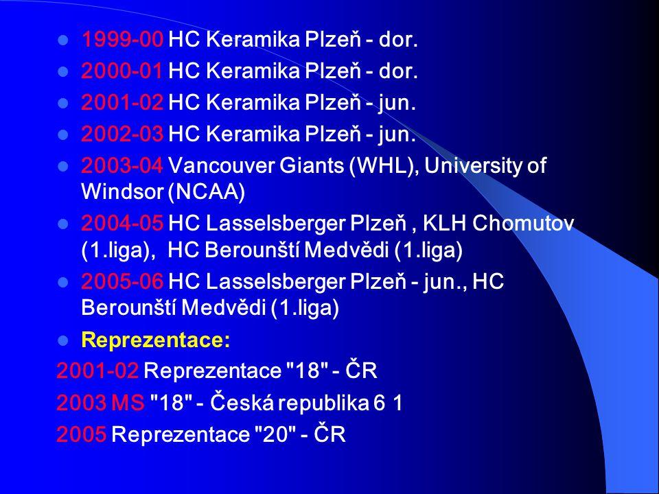 1999-00 HC Keramika Plzeň - dor. 2000-01 HC Keramika Plzeň - dor. 2001-02 HC Keramika Plzeň - jun. 2002-03 HC Keramika Plzeň - jun. 2003-04 Vancouver