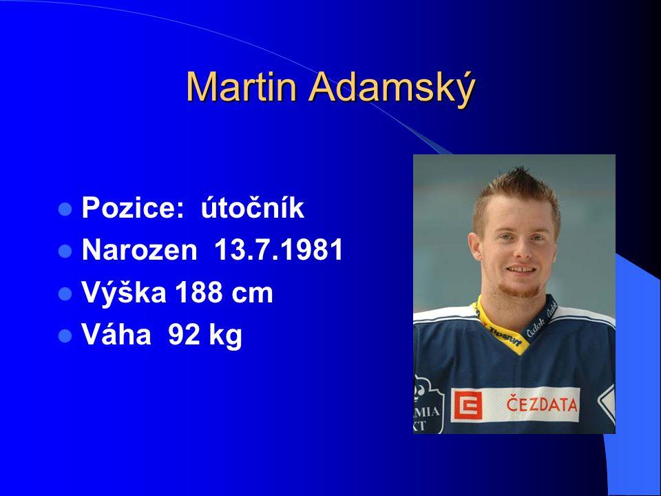 Martin Adamský Pozice: útočník Narozen 13.7.1981 Výška 188 cm Váha 92 kg