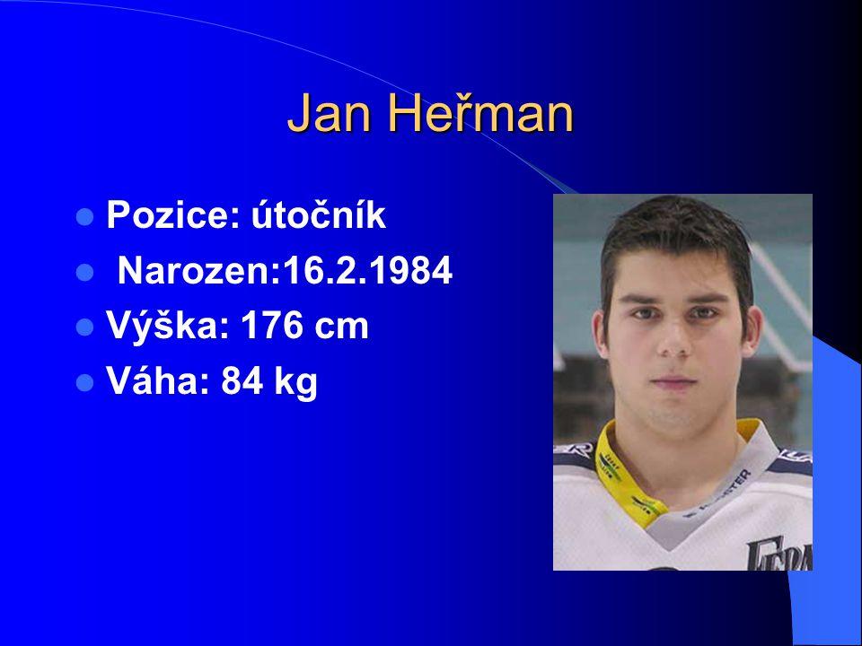 Jan Heřman Pozice: útočník Narozen:16.2.1984 Výška: 176 cm Váha: 84 kg