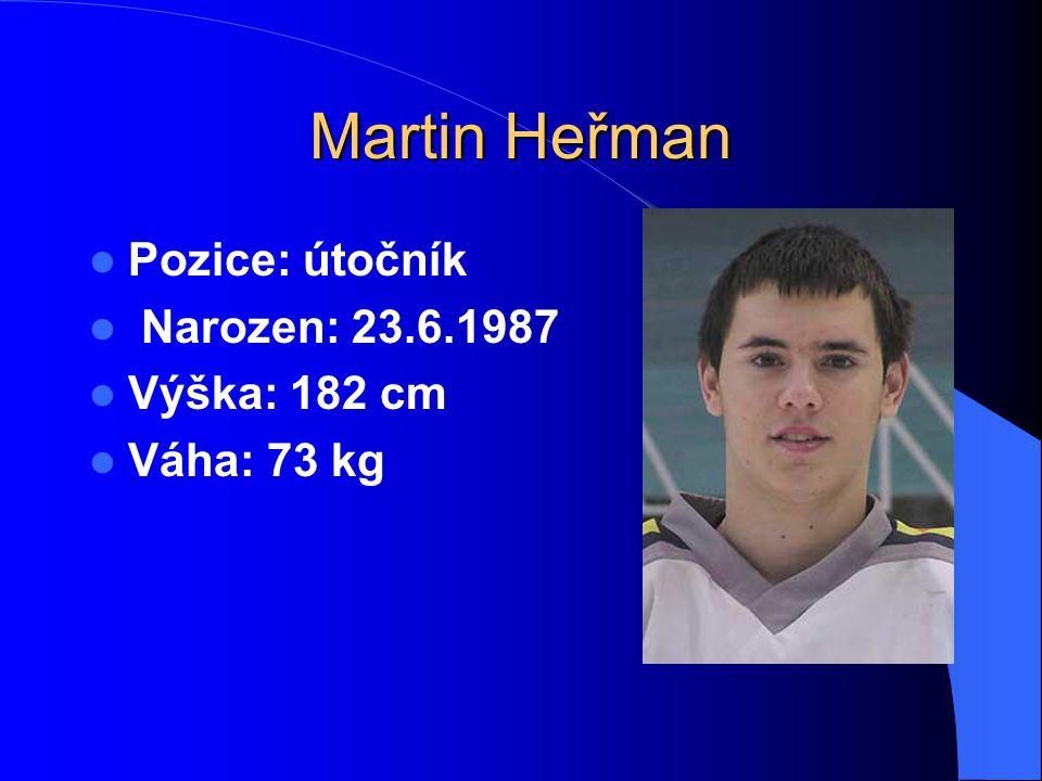 Martin Heřman Pozice: útočník Narozen: 23.6.1987 Výška: 182 cm Váha: 73 kg