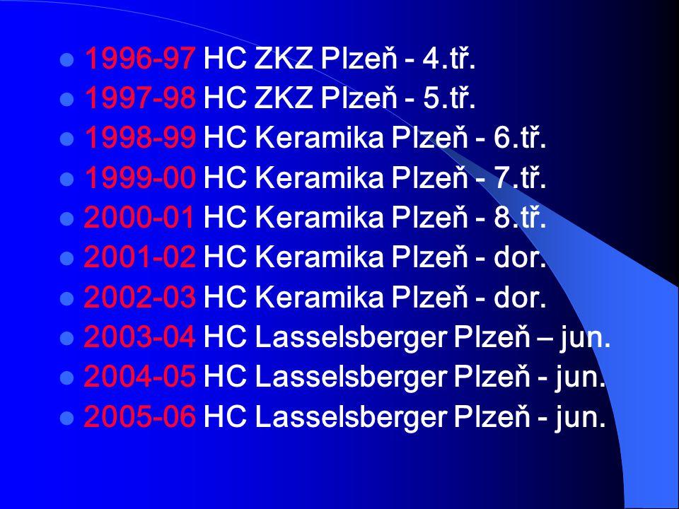1996-97 HC ZKZ Plzeň - 4.tř. 1997-98 HC ZKZ Plzeň - 5.tř. 1998-99 HC Keramika Plzeň - 6.tř. 1999-00 HC Keramika Plzeň - 7.tř. 2000-01 HC Keramika Plze