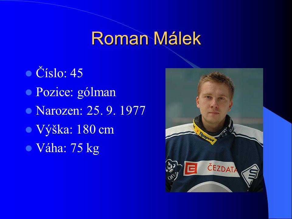 Roman Málek Číslo: 45 Pozice: gólman Narozen: 25. 9. 1977 Výška: 180 cm Váha: 75 kg
