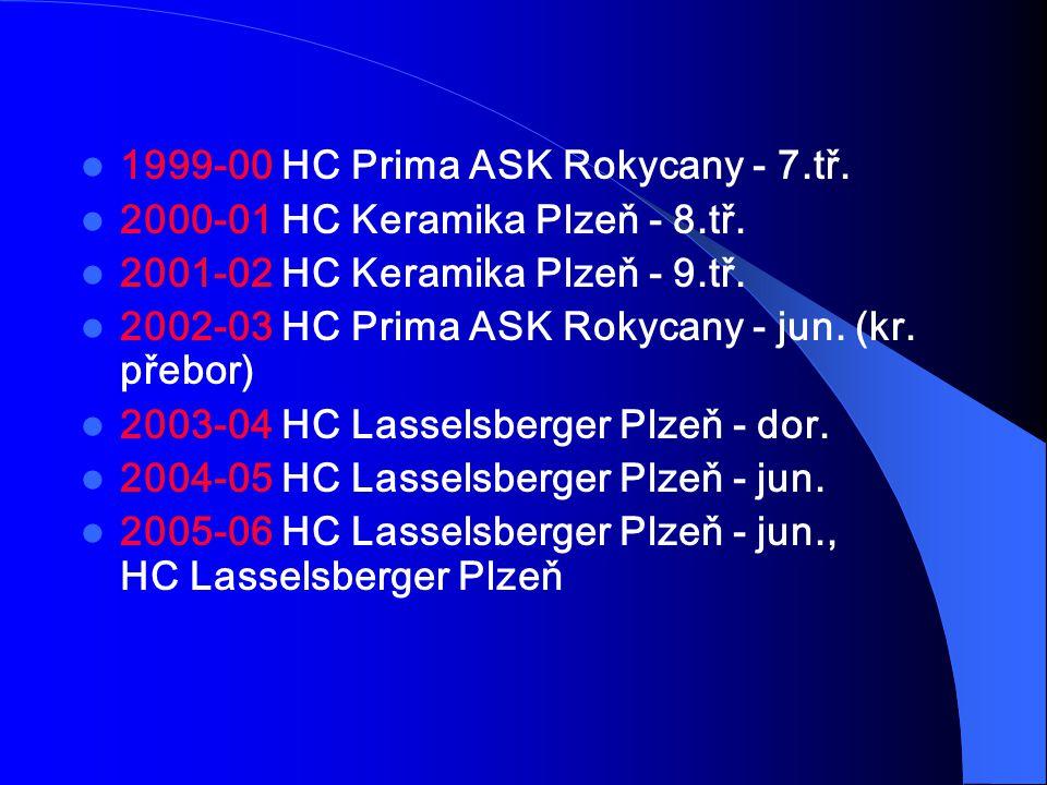 1999-00 HC Prima ASK Rokycany - 7.tř. 2000-01 HC Keramika Plzeň - 8.tř. 2001-02 HC Keramika Plzeň - 9.tř. 2002-03 HC Prima ASK Rokycany - jun. (kr. př