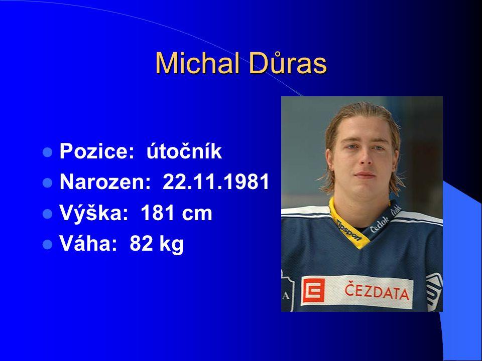 Michal Důras Pozice: útočník Narozen: 22.11.1981 Výška: 181 cm Váha: 82 kg