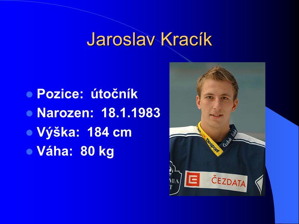 Jaroslav Kracík Pozice: útočník Narozen: 18.1.1983 Výška: 184 cm Váha: 80 kg