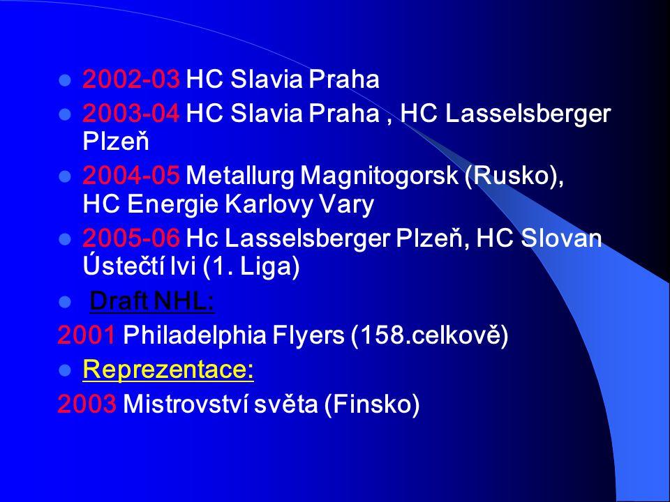 2002-03 HC Slavia Praha 2003-04 HC Slavia Praha, HC Lasselsberger Plzeň 2004-05 Metallurg Magnitogorsk (Rusko), HC Energie Karlovy Vary 2005-06 Hc Las