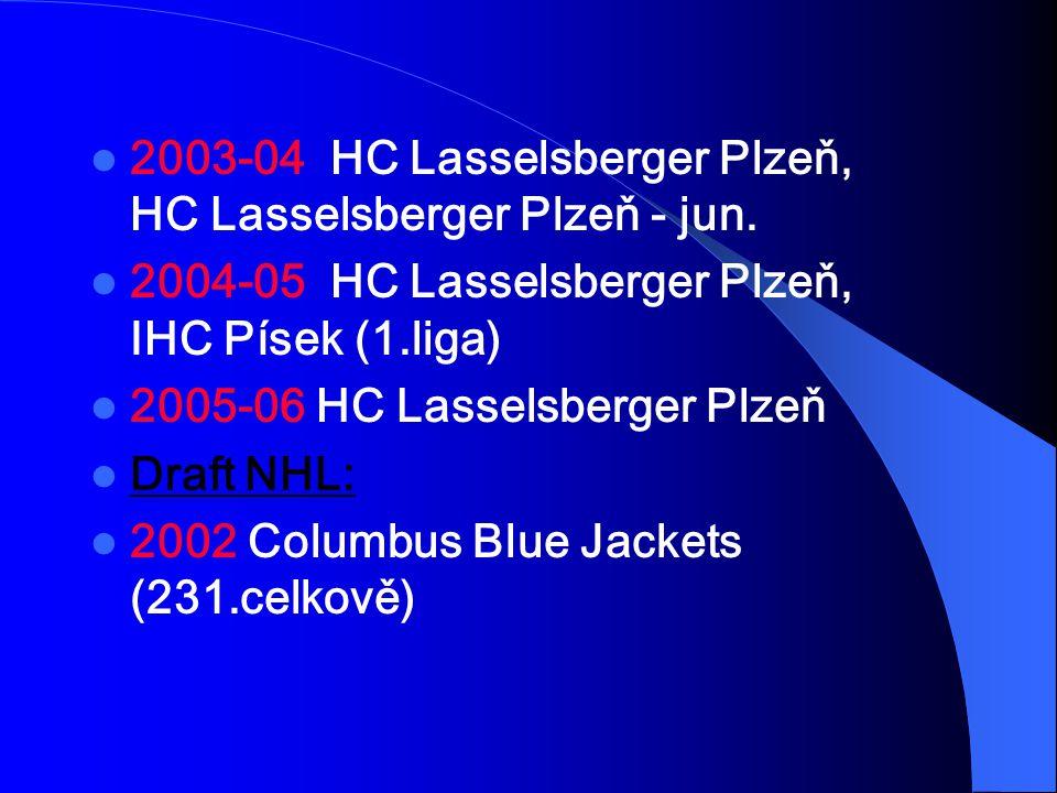2003-04 HC Lasselsberger Plzeň, HC Lasselsberger Plzeň - jun. 2004-05 HC Lasselsberger Plzeň, IHC Písek (1.liga) 2005-06 HC Lasselsberger Plzeň Draft