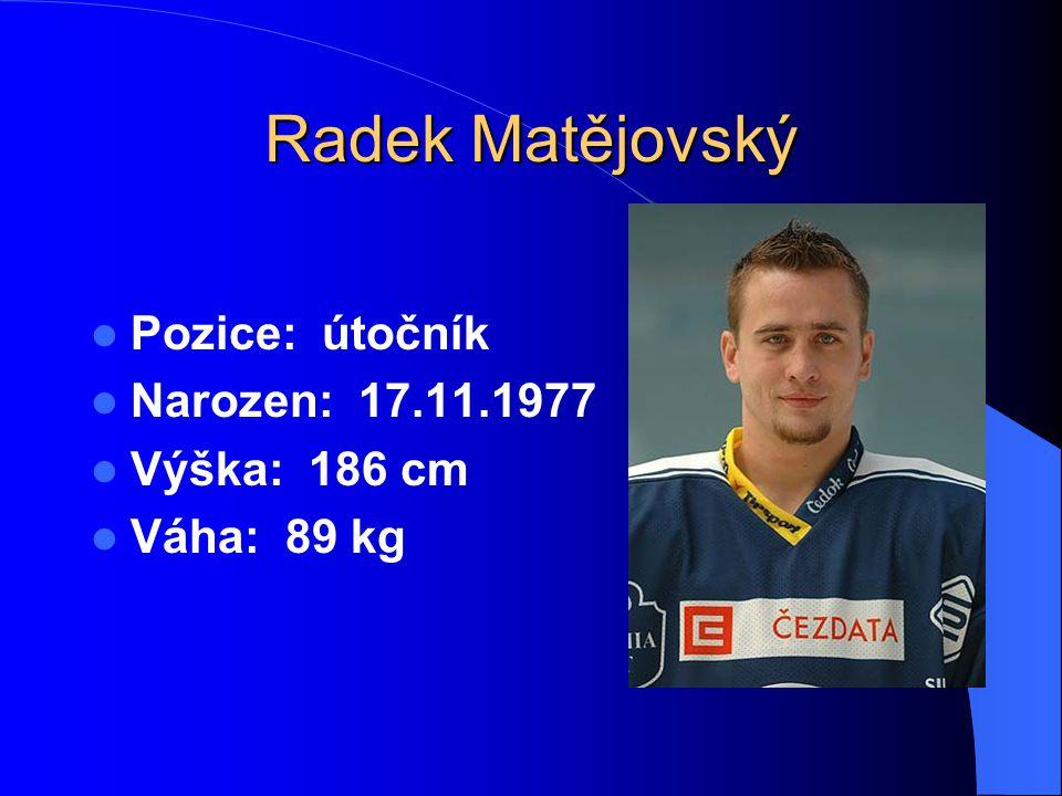 Radek Matějovský Pozice: útočník Narozen: 17.11.1977 Výška: 186 cm Váha: 89 kg