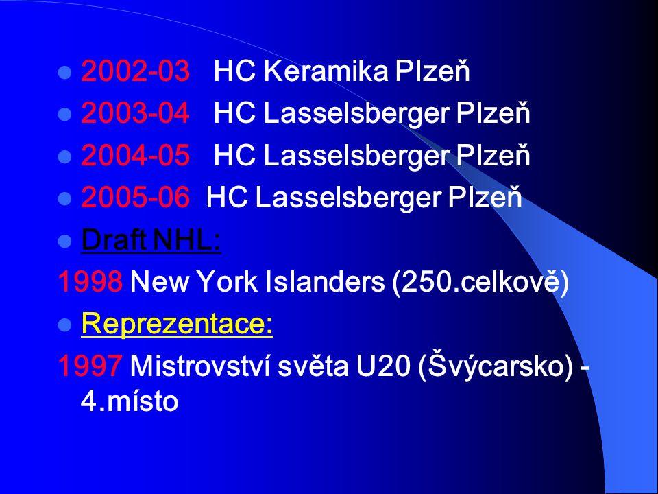 2002-03 HC Keramika Plzeň 2003-04 HC Lasselsberger Plzeň 2004-05 HC Lasselsberger Plzeň 2005-06 HC Lasselsberger Plzeň Draft NHL: 1998 New York Island