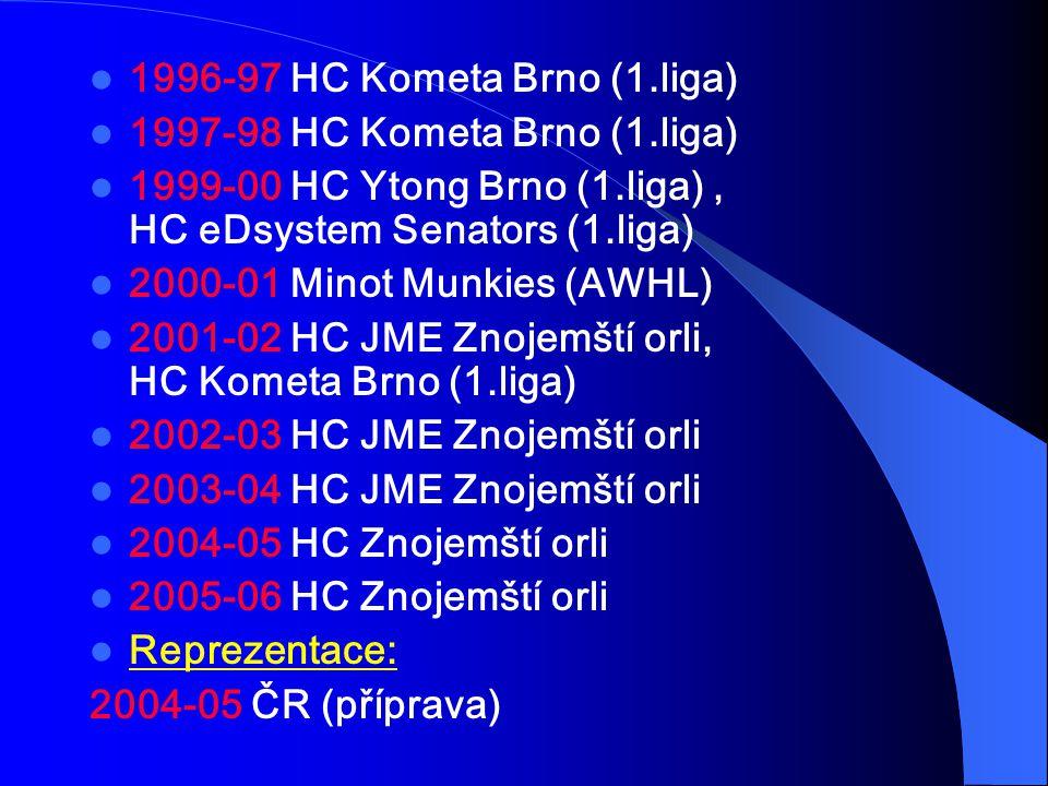 1996-97 HC Kometa Brno (1.liga) 1997-98 HC Kometa Brno (1.liga) 1999-00 HC Ytong Brno (1.liga), HC eDsystem Senators (1.liga) 2000-01 Minot Munkies (AWHL) 2001-02 HC JME Znojemští orli, HC Kometa Brno (1.liga) 2002-03 HC JME Znojemští orli 2003-04 HC JME Znojemští orli 2004-05 HC Znojemští orli 2005-06 HC Znojemští orli Reprezentace: 2004-05 ČR (příprava)