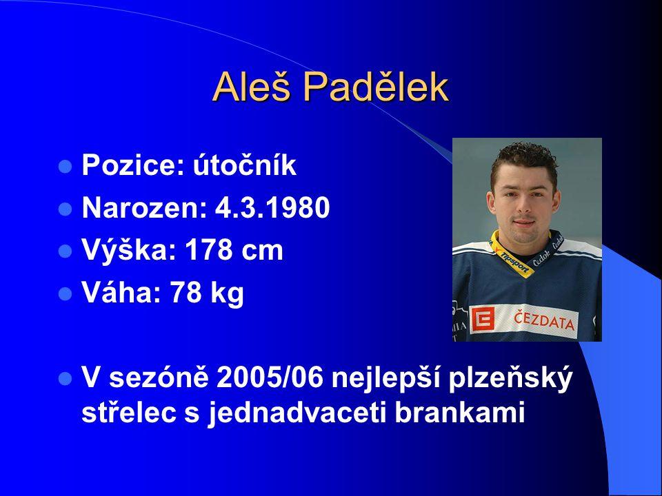 Aleš Padělek Pozice: útočník Narozen: 4.3.1980 Výška: 178 cm Váha: 78 kg V sezóně 2005/06 nejlepší plzeňský střelec s jednadvaceti brankami