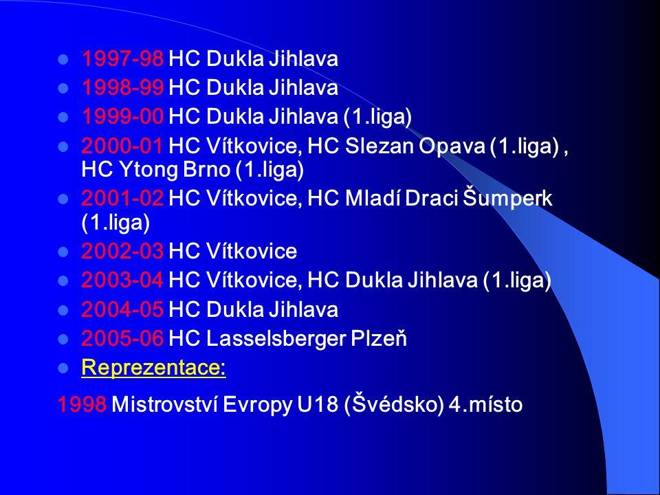 1997-98 HC Dukla Jihlava 1998-99 HC Dukla Jihlava 1999-00 HC Dukla Jihlava (1.liga) 2000-01 HC Vítkovice, HC Slezan Opava (1.liga), HC Ytong Brno (1.l