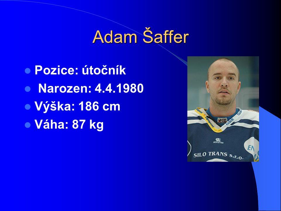 Adam Šaffer Pozice: útočník Narozen: 4.4.1980 Výška: 186 cm Váha: 87 kg