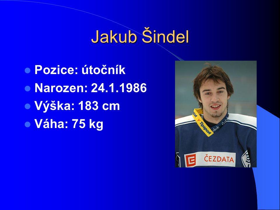 Jakub Šindel Pozice: útočník Narozen: 24.1.1986 Výška: 183 cm Váha: 75 kg