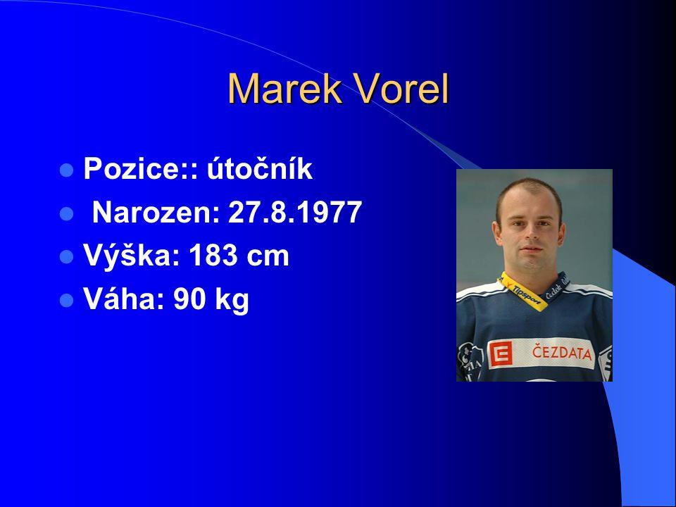 Marek Vorel Pozice:: útočník Narozen: 27.8.1977 Výška: 183 cm Váha: 90 kg