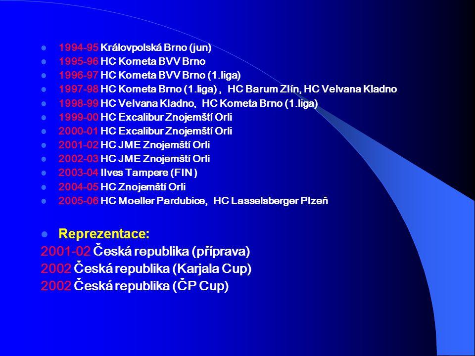 1994-95 Královpolská Brno (jun) 1995-96 HC Kometa BVV Brno 1996-97 HC Kometa BVV Brno (1.liga) 1997-98 HC Kometa Brno (1.liga), HC Barum Zlín, HC Velvana Kladno 1998-99 HC Velvana Kladno, HC Kometa Brno (1.liga) 1999-00 HC Excalibur Znojemští Orli 2000-01 HC Excalibur Znojemští Orli 2001-02 HC JME Znojemští Orli 2002-03 HC JME Znojemští Orli 2003-04 Ilves Tampere (FIN ) 2004-05 HC Znojemští Orli 2005-06 HC Moeller Pardubice, HC Lasselsberger Plzeň Reprezentace: 2001-02 Česká republika (příprava) 2002 Česká republika (Karjala Cup) 2002 Česká republika (ČP Cup)